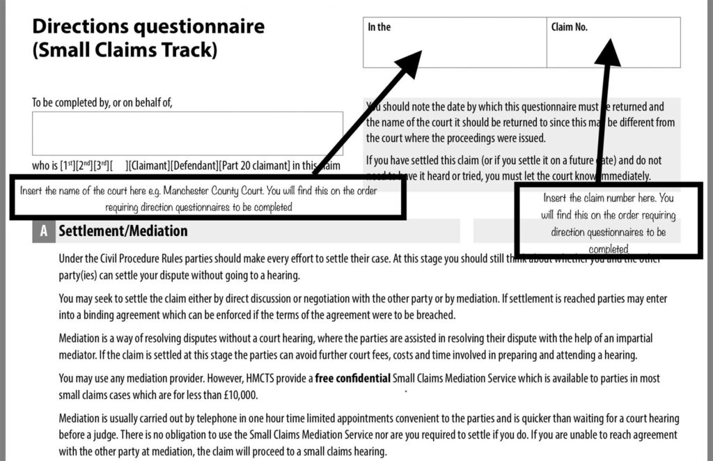Directions questionaire